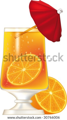 glass with a champagne orange and a parasol - stock vector