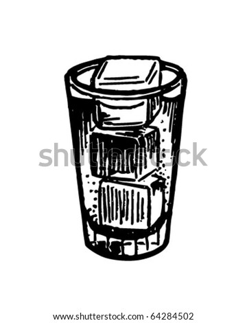 Glass With Ice Cubes - Retro Clipart Illustration - stock vector
