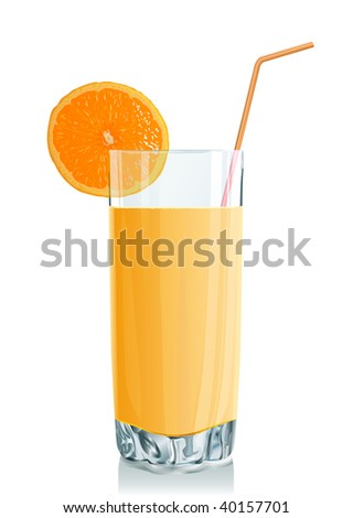 Glass with orange juice and an orange segment. Vector illustration. Gradient only. No mesh. It is organised on levels. Serie of images. - stock vector