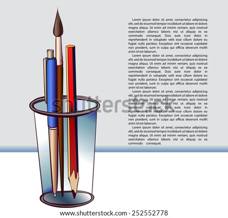 Glass with pencil, paintbrush and pen. Vector sketch with fee place for your text - stock vector