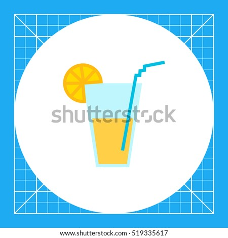 Glass with straw and citrus  slice