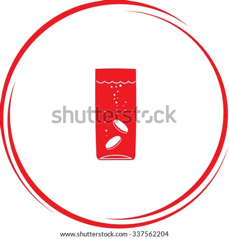 glass with tablets. Internet button. Vector icon. - stock vector