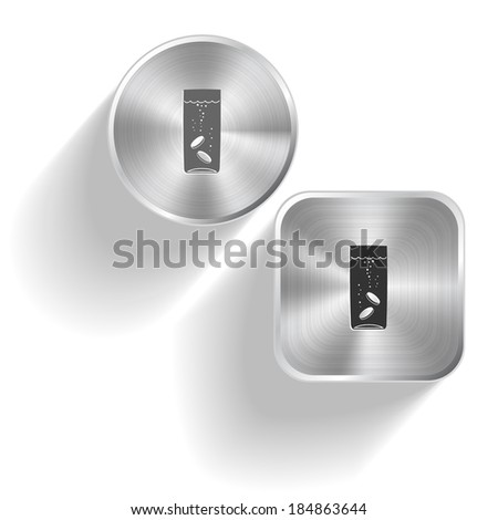 Glass with tablets. Vector set steel buttons