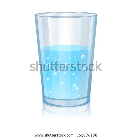 Glass with water isolated vector illustration on white background - stock vector