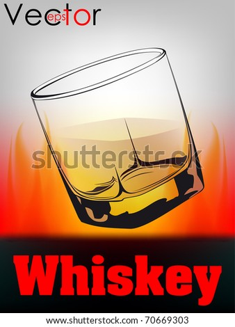 glass with whiskey on fire background - stock vector