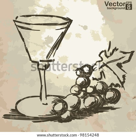 Glass with wine and grapes vine on grunge background.   Vector illustration. Eps 8. - stock vector