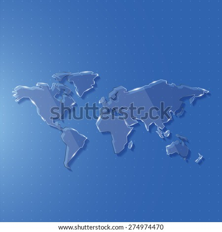 Glass world map edge line for science and technology concept against background, Vector illustration