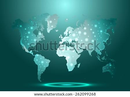 glass world map - vector illustration - stock vector