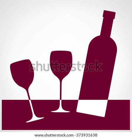Glasses and bottle vector. Wine list design. - stock vector