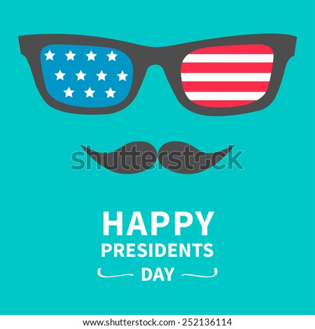 Glasses and mustaches. Presidents Day background flat design - stock vector