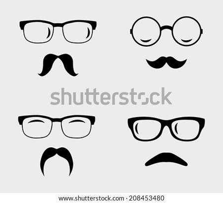 Glasses and mustaches set. Retro, hipster styles. Vector illustration - stock vector