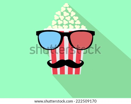glasses and popcorn - stock vector