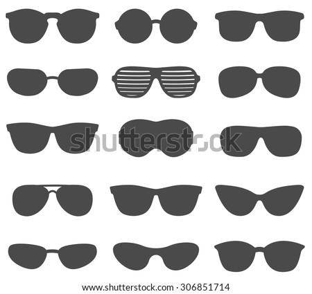 Glasses and sunglasses vector set - stock vector