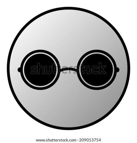Glasses button on white background. Vector illustration.