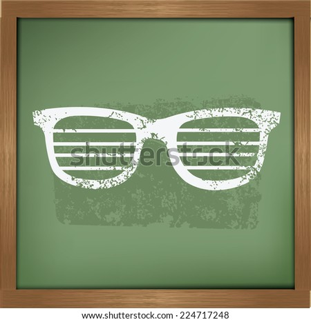 Glasses design on blackboard background,vector - stock vector