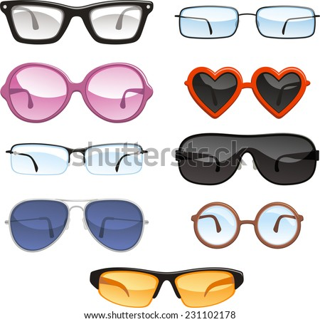 Glasses eye wear eye glasses, vector illustration.  - stock vector