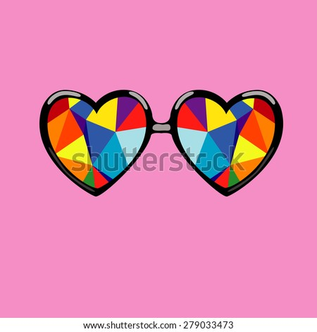 Glasses for the eyes with colorful geometric vector