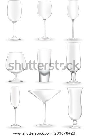Glasses for wine, champagne, martini, vodka, beer, cocktail - stock vector