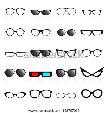 Glasses frame icons. Vector illustration - stock vector
