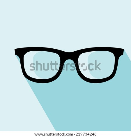 Glasses Icon. Vector illustration. Elements for design. Glasses Icon on blue background. - stock vector