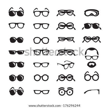 Glasses icons. Vector format - stock vector
