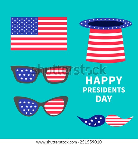Glasses mustaches hat flag set. Presidents Day background flat design Vector illustration - stock vector