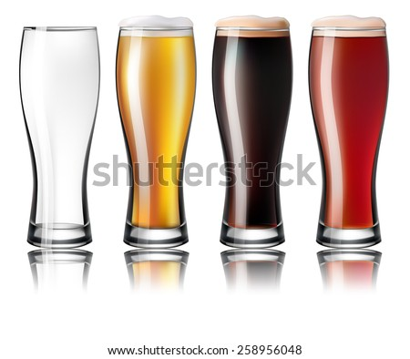 glasses of beer - stock vector