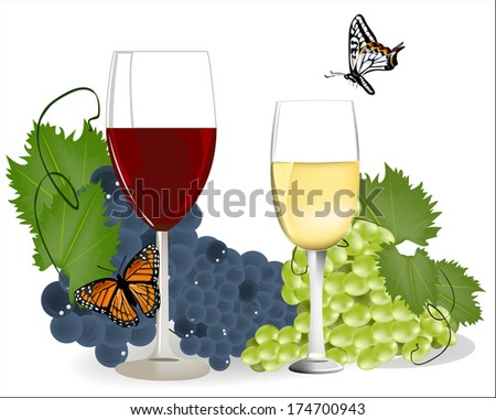 glasses of red and white wine grapes on a background of green