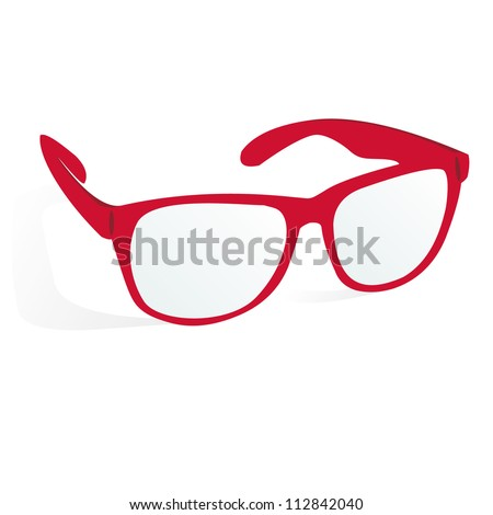 glasses of red color on a white background with shadow, vector - stock vector