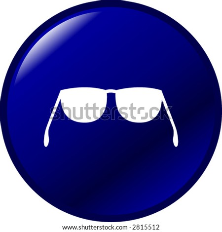 glasses or sunshades button pushbutton - stock vector