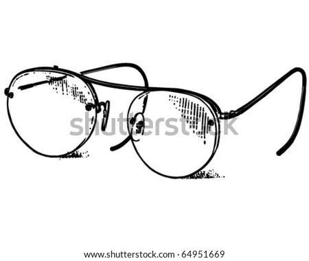 Glasses - Retro Clipart Illustration - stock vector