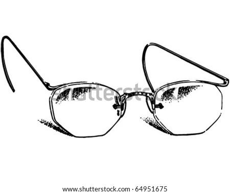 Glasses 2 - Retro Clipart Illustration - stock vector