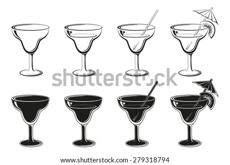 Glasses Set, Empty, with Drink, Kiwifruit and Straw Black Contours and Silhouettes Symbolical Pictogram Isolated on White Background. Vector - stock vector