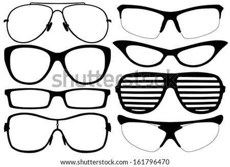 Glasses Silhouette Set on white background - stock vector