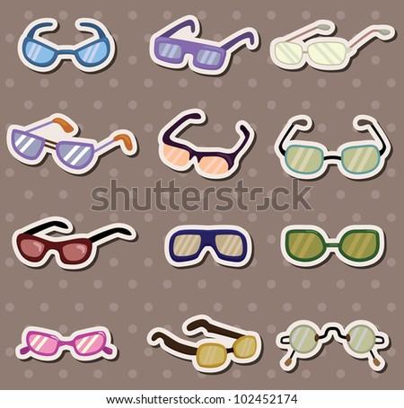 glasses stickers - stock vector
