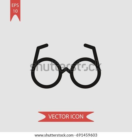 Glasses Vector Icon Simple Goggles Symbol Stock Vector 691459603
