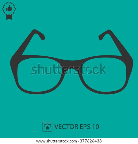 Glasses vector icon. Simple silhouette vector illustration EPS 10. - stock vector