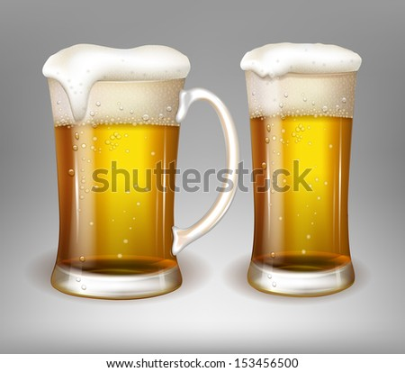 glasses with beer - stock vector