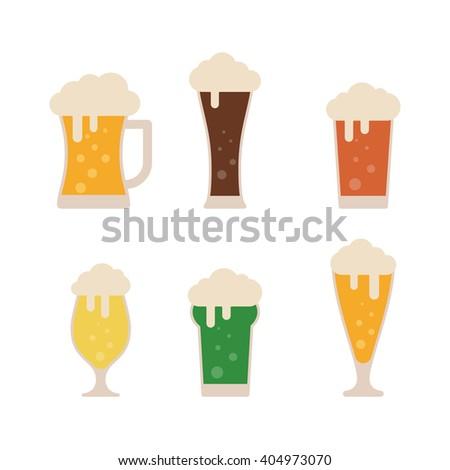 Glasses with beer isolated on background. Beer vector set. Beer flat icons. Light beer. Lager beer. Dark beer. Green beer. Colorful beer. Beer logo. Foamy beer. Beer in vintage style. Alcohol beer - stock vector