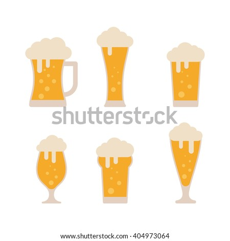 Glasses with beer isolated on white background. Beer vector set. Beer flat icons. Light beer. Lager beer. Colorful beer icon. Beer logo. Foamy beer. Beer icon in vintage style. Alcohol beer - stock vector
