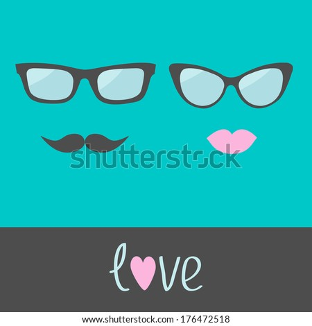 Glasses with lips and moustache. Flat design. Vector illustration.
