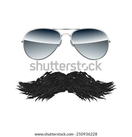 Glasses with Mustache isolated on white background vector - stock vector