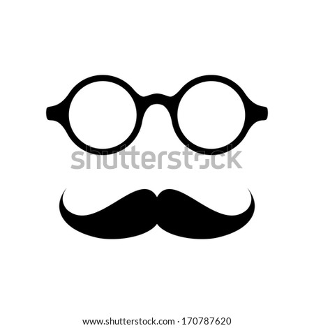 Glasses with mustache. Vector illustration - stock vector