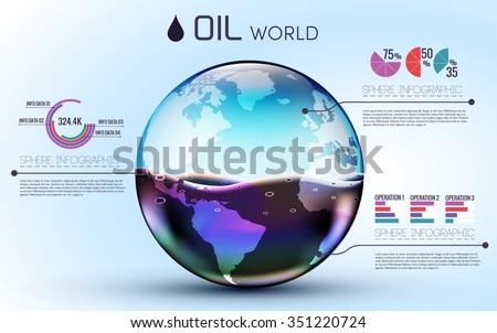 glasses world oil background infographic concept. vector illustration design template - stock vector