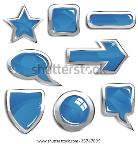 Glassy blue web elements - stock vector