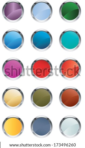 Glassy buttons - stock vector