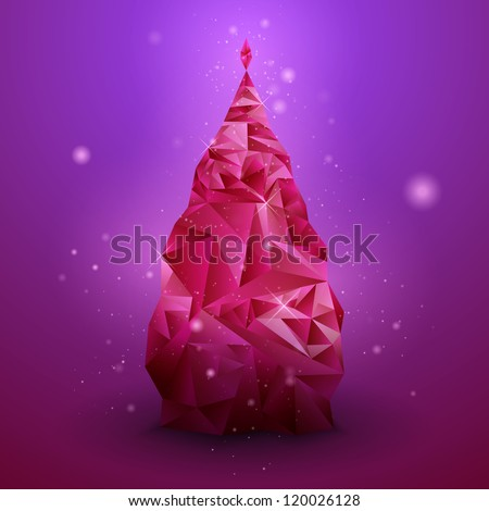 Glassy Christmas Tree. Abstract vector background. Christmas background. Holiday background. Christmas poster. Violet background. Vector illustration. Abstract art - stock vector
