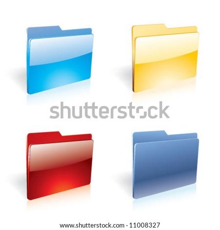 Glassy color folders - stock vector