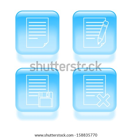 Glassy document edit icons. Vector illustration. - stock vector