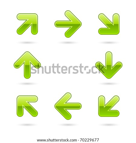 Glassy green arrow icon web 2.0 button with drop shadow on white background - stock vector